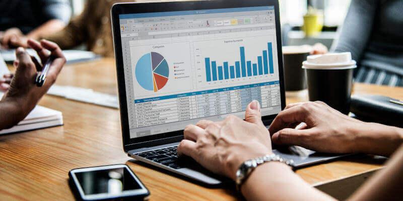 Financial forecast chart laptop